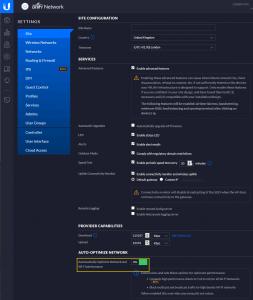 Ubiquiti Auto-optimise Network Setting