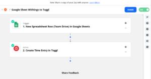 Zapier Google sheet to Toggl zap